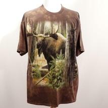 The Mountain Brown Tie Dye Graphic Moose T Shirt Mens Sz XL USA - $28.93