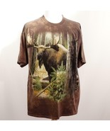 The Mountain Brown Tie Dye Graphic Moose T Shirt Mens Sz XL USA - $28.93
