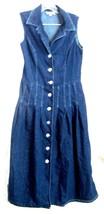 Dressbarn Blue Jean Denim Dress Cotton Sleeveless Front Button Dress Siz... - $37.99
