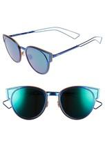Christian Dior Sculpt Blue/ Blue Green Mirrored Cat Eye Metal Sunglasses Women - $223.17
