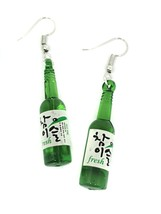 Ladies Korean Green Bottle Sake Drink Soju Summer Fashion Pair of Earrings - $4.21