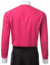 Berlioni Italy Men's Premium Classic White Collar & Cuffs Two Tone Dress Shirt image 14