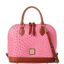 Dooney & Bourke Ostrich Zip Zip Satchel Hot Pink Purse Handbag