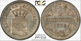 1871 Ms64 Tedesco Dichiara Bavaria Argento Kreuzer PCGS km#873 UNC - $59.38