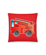 Red Cartoon Fire Truck Engine Appliance Kids Basic Pillow - $28.50+