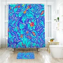 Flower Lilly Maitai Pattern Shower Curtain Waterproof & Bath Mat For Bathroom - $15.30+