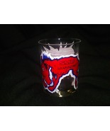 Lot of 2 SMU Mustangs Whiskey Glass Vintage Clear Heavy Drinking Glasses... - $24.97