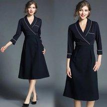 Spring fashion new V neck seven stitching stripes stitching A-line dress - $69.00