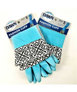 2 PR Dawn Ultra Reusable Rubber Gloves Fashion Cuff -Lt Blue-One Size -H... - $19.01