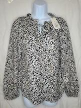 A New Day Women's Long Sleeve Cheetah Print Peasant Blouse, Black/White ... - $13.84