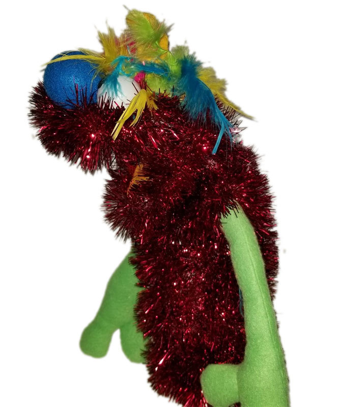 C6 * Deluxe Custom Sparkly Red Monster w/Rainbow Hair Sock Puppet * Custom Made