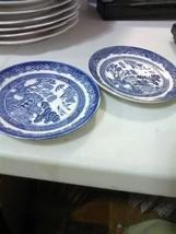 2 Johnson Bros England Blue willow Saucers - $4.55