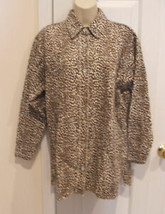 new/pkg frederick's of hollywood leopard print robe sleepshirt made in USA small - $11.13