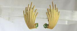 Vintage Mint Green Rhinestones Shooting Stars Earrings Gold Plate Satin ... - $13.50