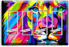 Colorful Lion Abstract Art 4 Gfi Switch Outlet Wall Plate Covers Room Home Decor - $19.79