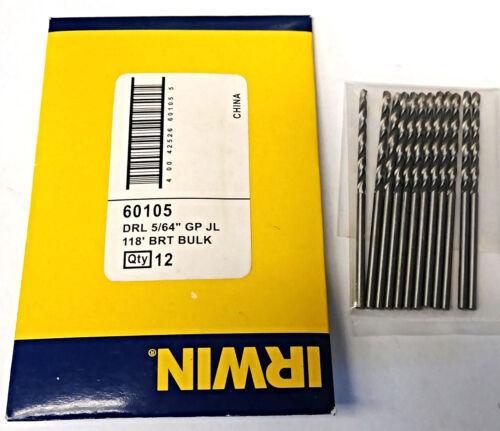 "Primary image for Irwin 60105 5/64"" Bright 118° General Purpose Jobber Length Drill Bits 12 Pack"