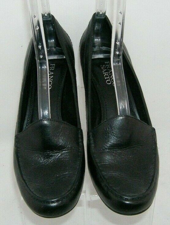 Franco Sarto 'Nation' black leather round toe slip on loafer stacked heels 8M image 6
