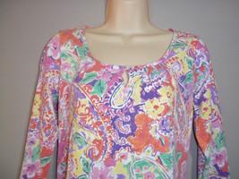 Classic Women's Chaps Multi-color Knit 3/4 Sleeve Blouse Size M - $9.89
