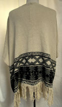 AMERICAN RAG Oversized Open Front Sweater Vest Southwest Print Fringed FLAW Sz M image 5