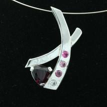 Red Purple Rhodolite Garnet Pink Spinel 925 Silver Unisex Pendant Design... - $99.75
