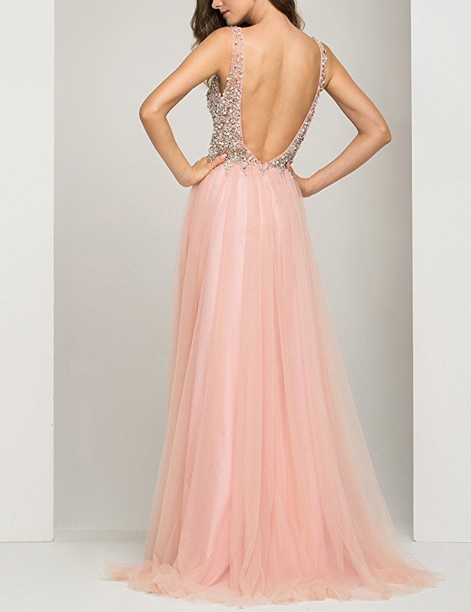 Cheap Long Baby Pink Prom Dress Gown Backless Formal Evening Dress Party Dress