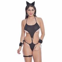 NEW Black Cat Women's Lingerie Sexy Intimate Bodysuit Halloween Valentin... - $14.01