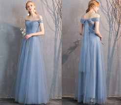 Maxi Bridesmaid Dress Tulle Bridesmaid Dresses with Sleeves Dusty Blue Burgundy image 6