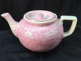 Paden City Pottery Tea Pot Craquelure Pink Rose Marie Gold Trim - $48.51