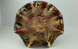 """Carnival Glass Imperial Pansy Arcs Ext. Amethyst Metallic Iridescent 9"""" ... - $140.24"""