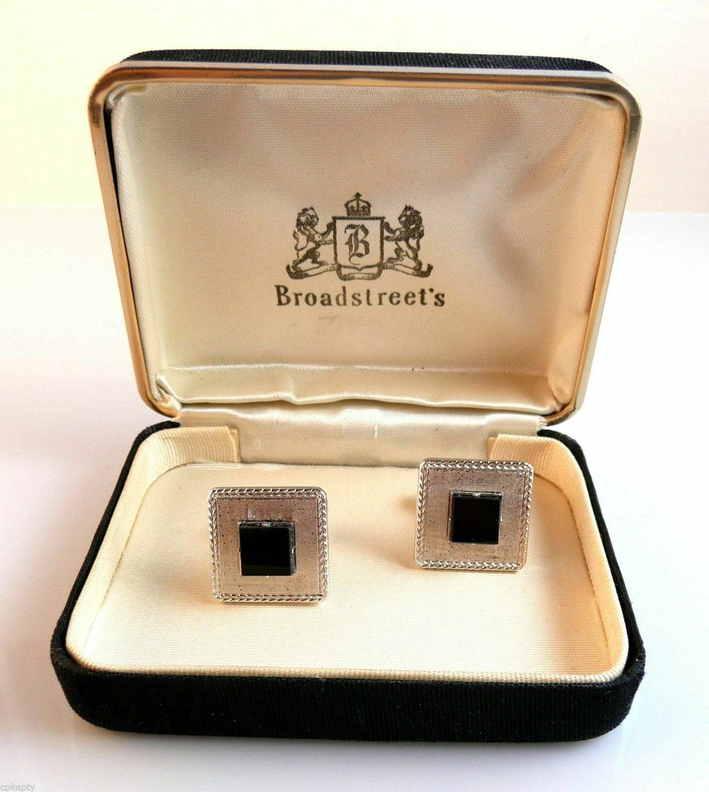 Primary image for Vintage 1950s SWANK Sterling Silver & Black Onyx CUFFLINKS in Orig Box