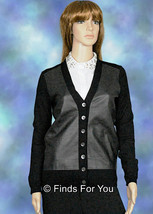 J Crew Leather Front Merino Cardigan Size Extra Small Style# 03802 $228 New - $119.59