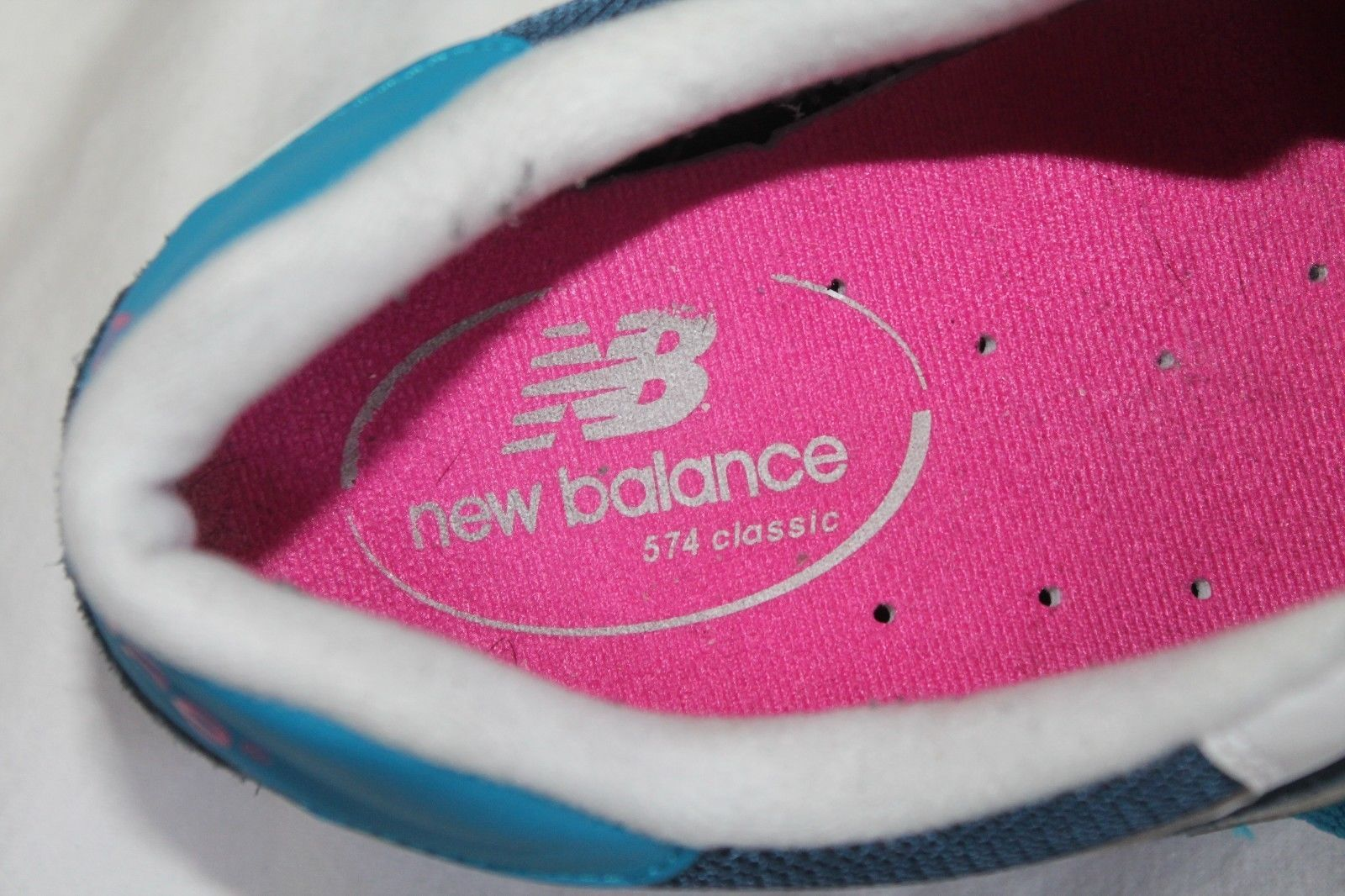 New Balance 574 WL574MOY Blue Suede Nylon Lace-Up Running Sneaker Size US 10