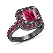 Princess Brilliant Sapphire 1.50Ct Solitaire Engagement Ring 14k Black G... - $74.99