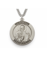 STERLING SILVER ST. PAUL PATRON OF AUTHORS ENGRAVED MEDAL NECKLACE & CHAIN - $113.99