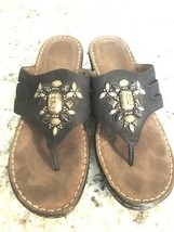 NATURAL SOUL Naturalizer Black Beaded Jeweled Sandals Sz 9 Shoes Slip On Womens - $19.75
