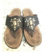 NATURAL SOUL Naturalizer Black Beaded Jeweled Sandals Sz 9 Shoes Slip On... - $19.75