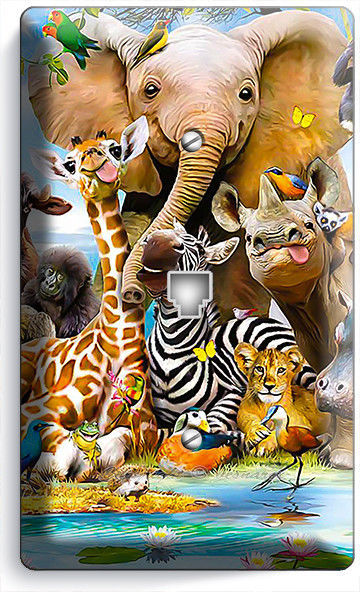 AFRICAN JUNGLE ANIMALS PHONE TELEPHONE WALL PLATE COVERS BABY NURSERY ROOM DECOR