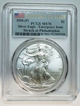 2020 P SILVER EAGLE Dollar $1 EMERGENCY ISSUE PCGS MS70 FDOI Flag Coin sku c137
