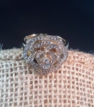 QVC SW Gold Plated Over Sterling Silver Clear CZ Ring Size 9 - $29.99