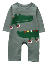 StylesILove Infant Baby Boy Funny Crocodile Green Long Sleeve Cotton Romper - $18.99