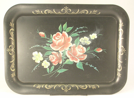 Toleware Metal Tray Red Roses Black Background Gold Color Scrolls Needs ... - $24.00