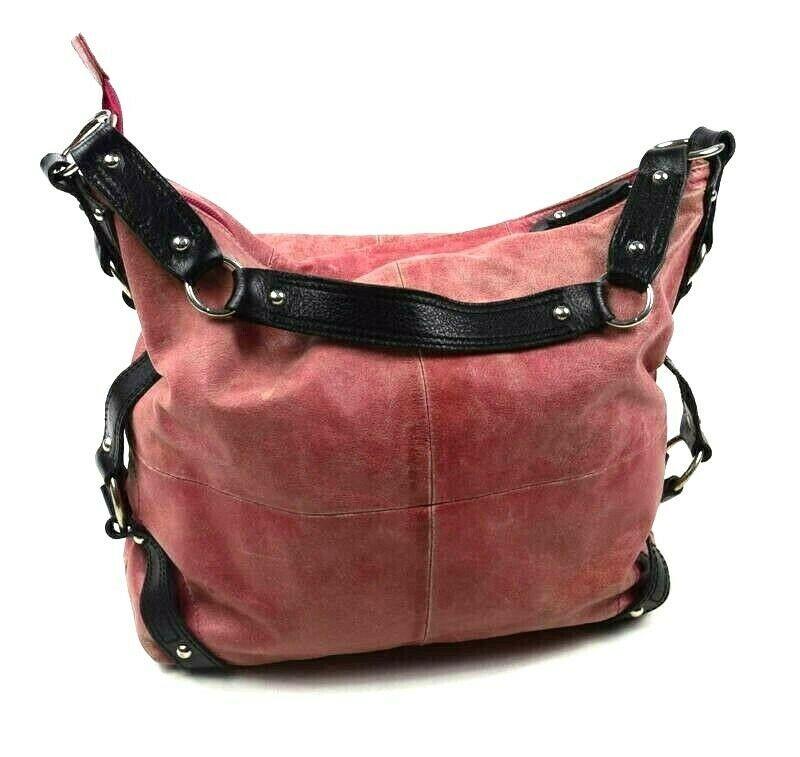 Tano Red Leather Hobo Shoulder Bag Studded Harness Strap Satchel Purse Medium image 2