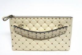 New $1600 Valentino Rockstud Spike Leather Clutch Bag - $880.04