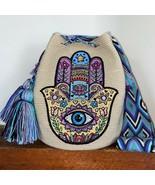 Authentic 100% Wayuu Mochila Colombian Bag large Size Beige hamsa protec... - $118.80