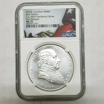 2018 John Adams Silver Presidential Series Medal MS70 Coin Serials Vary SKU C3