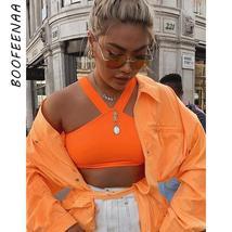 BOOFEENAA Halter Backless Crop Top T Shirt Women Orange White Rave Festi... - $21.43