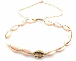 LESLIE BOULES Natural Cowrie Shell Gold Plated Beads Necklace Fashion Je... - $24.27