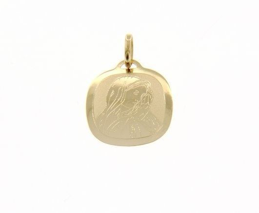 18K YELLOW GOLD PENDANT SQUARE MEDAL VIRGIN MARY 15 MM ENGRAVABLE MADE IN ITALY