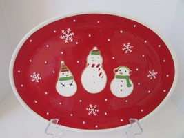 "HALLMARK HOLIDAY PLATTER 15.25"" FEATURING EMBOSSED SNOWMEN SNOWFLAKES OVAL - $8.86"