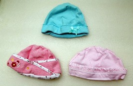 Baby Hats Lot of 3 Just One Year 100% Cotton Mixed Sizes Infant Beanie Caps - $9.99